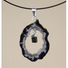 Geode Pendant with Tourmaline