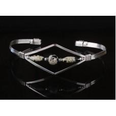 Bangle Bracelet in Sterling Silver  and Dalmatian Jasper