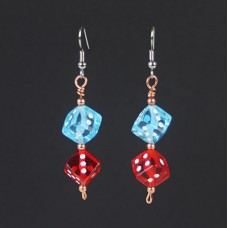 Playful Dice Earrings in Blue and Red