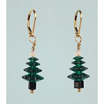Gold Filled Swarovski Tree Earrings