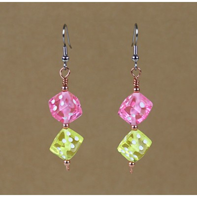Playful Dice Earring Pink and Yellow