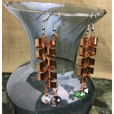Copper Spiral Dangle Earrings Large