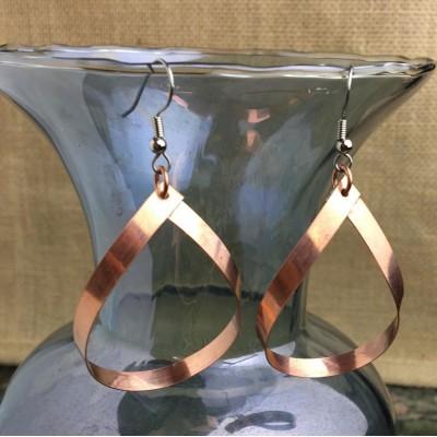 Copper Teardrop Earrings Large