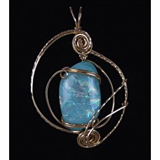 14kt Gold Filled Carribean Blue Dichroic Glass Pendant