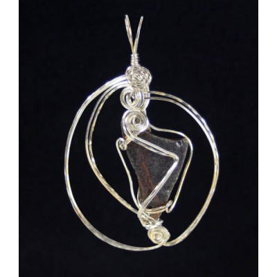 Genny From Charlotte,  Sterling Silver Beach Glass Pendant