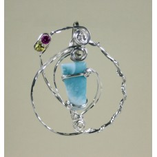 Larimar Sparkle,  Sterling Silver  Pendant