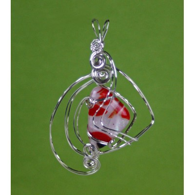 Dichroic Red Wave,  Sterling Silver  Pendant