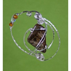 Gemstone Pebble Sterling Silver Pendant