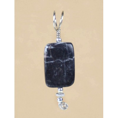 Black Marble Pendant in Sterling Silver