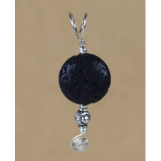 Black Lava Pendant in Sterling Silver